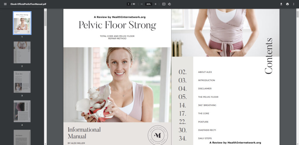 Pelvic Floor Strong System Manual Table of Contents